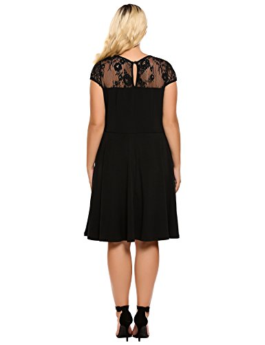 Womens Plus Size Lace Cap Sleeve Fit and Flare Vintage Party Dress - Involand Ladies High Waist Floral Lace Tea Dress