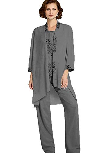 The Peachess Long Mother of The Bride Lace Appliqued Pant Suits Wedding Guest Dress with Jacket Grey