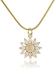 BZEBI 14k Gold Plated Sunflower Necklace For Women Girls You Are My Sunshine Necklace Sunflower Jewelry Pendan