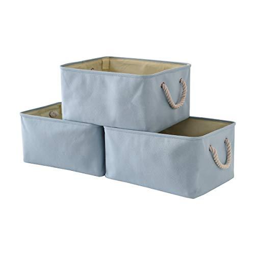 TheWarmHome Blue Storage Basket with Sturdy Rod, Collapsible Storage Bins Set Works As Baby Storage, Toy Storage, Nursery Baskets (Blue, 3 Pack)