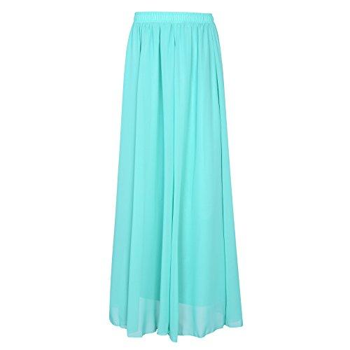 Korean Women Chiffon Pleated Retro Maxi Long Skirt Elastic WaistBand Dance Dress (Sky blue)