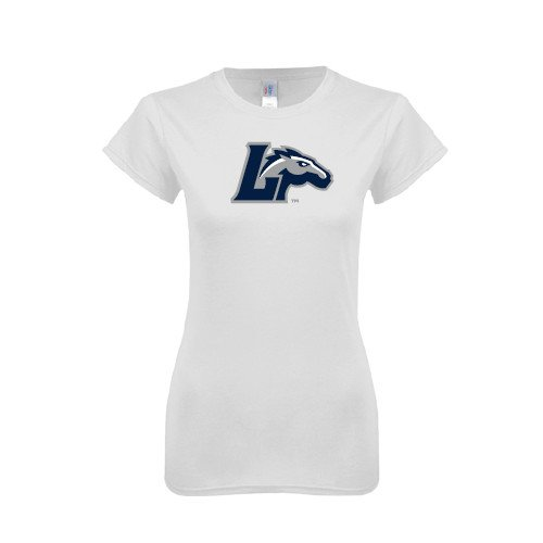 Longwood Next Level Ladies SoftStyle Junior Fitted White Tee 'L Horse'