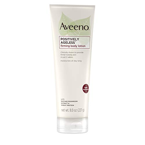 31WVb%2BcbFWL - Aveeno Positively Ageless Anti-Aging Firming Body Lotion with Shiitake Mushroom complex & Wheat Protein, Lightweight & Non-Greasy Daily Lotion to Improve Skin Elasticity & Texture, 8 oz (2 Pack)