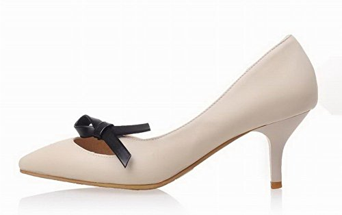 Closed Toe Solid Pu Beige Heels WeenFashion Kitten Women's On Pull Sandals 5WxBYcSwq