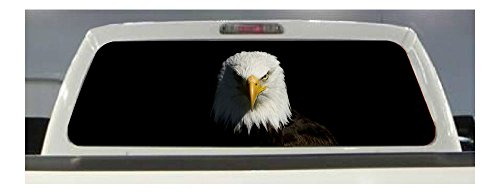 AMERICAN FLAG EAGLE PICK-UP TRUCK REAR WINDOW GRAPHIC DECAL PERFORATED VINYL .. (Rear Look Window)