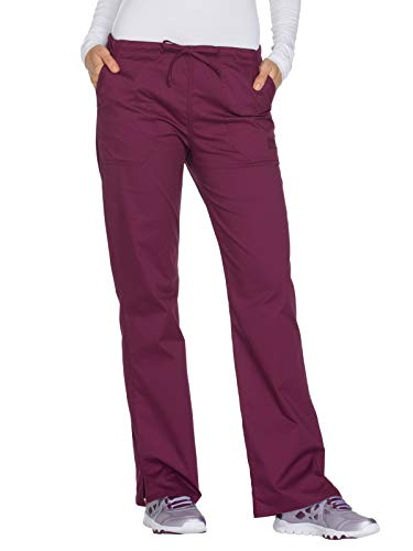 Cherokee Workwear Core Stretch WW130 Mid Rise Drawstring Pant Wine M Petite
