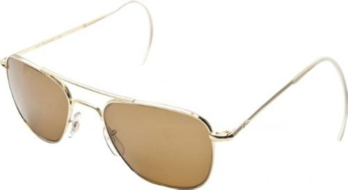 AO Eyewear Original Pilot Sunglasses 55mm Brown Polarized Optical Glass Lenses (Cable Temple Frames)