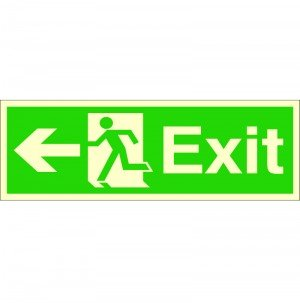 Rigid Plastic VSafety Glow In The Dark Fire Exit Arrow Down Sign 300mm x 100mm
