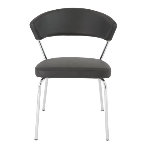 Eurø Style Draco Soft Leatherette Side Chair, Black with Chrome, Set of 4 ()