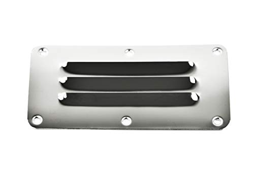 Stainless Steel Louvered Vent - Marine City Stainless-Steel 2-1/2 Inches × 5 Inches Rectangle Stamped Louvered Vent (Pack of 2)