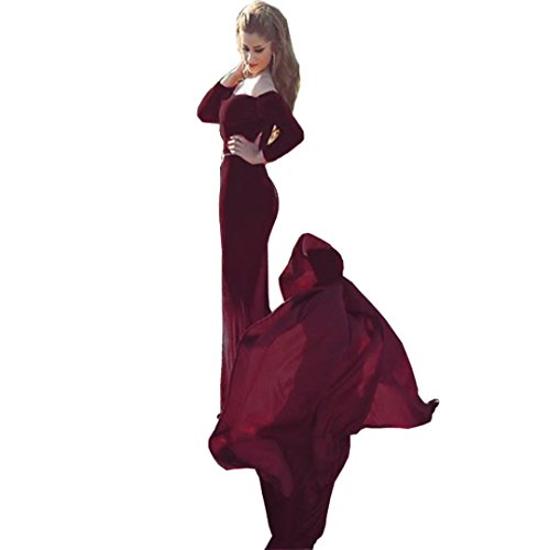Chady Sexy Off Shoulder Velvet Long Sleeve Burgundy Mermaid Prom Dresses 2017 Long Train Arabic Long Evening Dresses by Chady