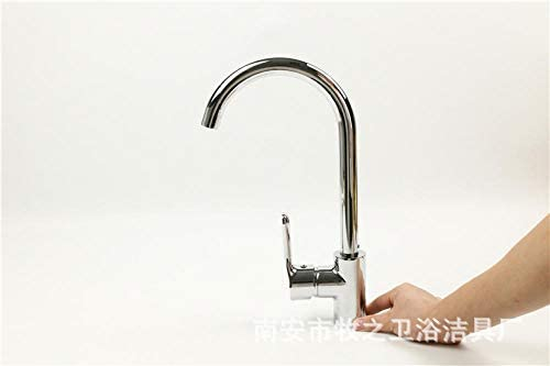Kitchen Sink Faucet Basin Mixer Tap Bathroom Faucets with US Standard Fitting Single Handle Brass Constructed Swivel Spout Vertical Rotating Copper Kitchen Faucet Hot and Cold Rotating Sink Sink