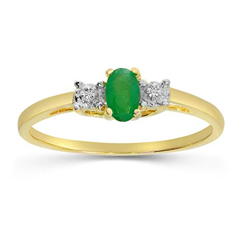 14k Yellow Gold Oval Emerald And Diamond Ring (Size 6)