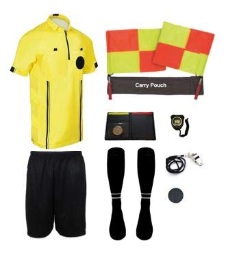 (New! 2018 Pro Soccer Referee Package (11 Piece) (Yellow, Adult Small))