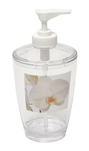 EVIDECO 6200430 Purity Orchid Clear Acrylic Printed Bathroom Soap and Lotion Dispenser