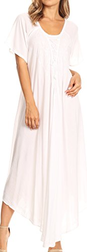 Sakkas 1701 - Lilia Embroidered Lace Up Bodice Relaxed Fit Maxi Sun Dress - White - OS