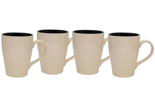 Culver 16-Ounce Sherwood Ceramic Mug, Sand Beige, Set of 4