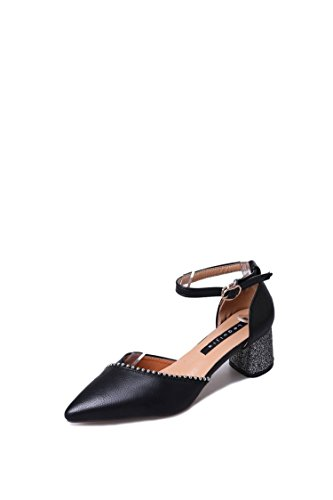 Femmes Simple Six Chaussures des Boucles Hauts Chaussures Talons Chaussures Hauts Sandales pour Talons Noir Femmes à Trente et à qTO8OwZ
