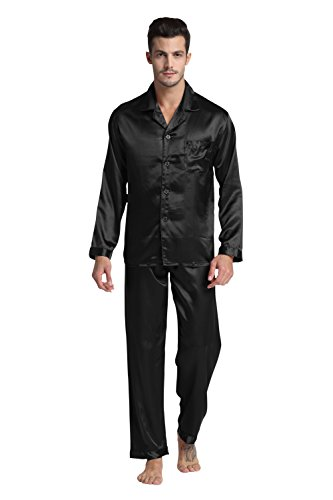 Tony & Candice Men's Classic Satin Pajama Set Sleepwear (Large, Black)