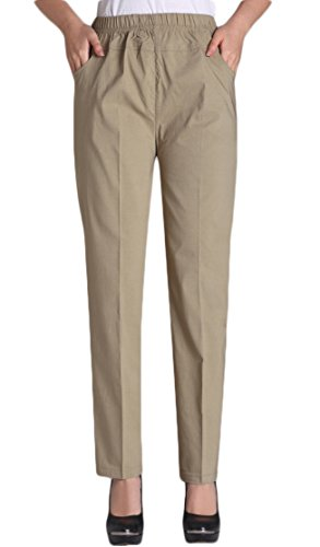 Khakis Stretch Cotton (Soojun Womens Summer Elastic Waist Comfy Stretch Pull On Pants, Khaki, Medium)