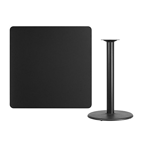 Offex 42'' Square Black Laminate Table Top with 24'' Round Bar Height Table Base
