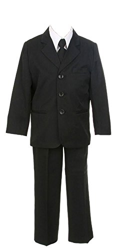 Boys Three Button Single Breasted Formal Suit 5-Piece - Black - Size 16 HUSKY
