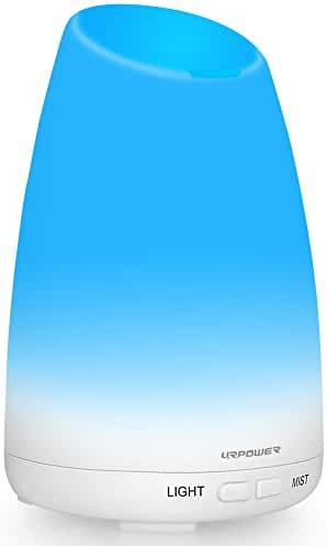 URPOWER Essential Oil Diffuser Aromatherapy Diffuser Portable Ultrasonic Aroma Humidifier with 7 Color Changing LED Lamps, Mist Mode Adjustment and Waterless Auto Shut-off Function