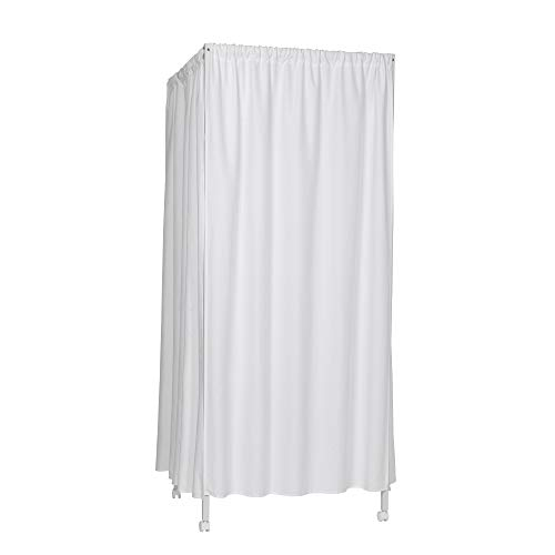 Don't Look at Me - Portable Changing Room Divider - White Frame with White Blackout Fabric and Casters