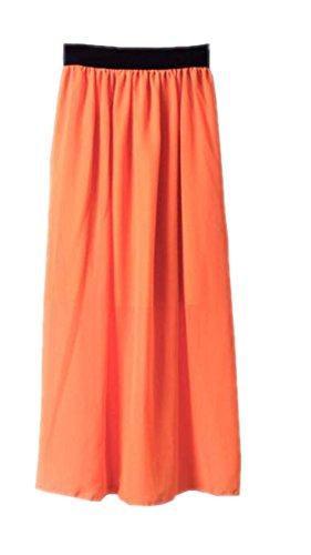 Jupe Extensible Skirt Femelle Femme Taille Grande Jupe Glamour Orange ElGant Taille Haililais Mousseline Cocktail Jupe Jupe Longue De Fg8Iw77Hxq