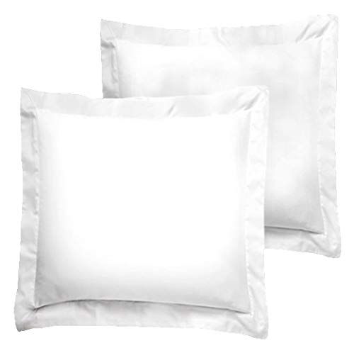 Luxury Egyptian Cotton 300 Thread Count 2-Piece Euro Pillow Sham Set 18 x 18 Inch- White