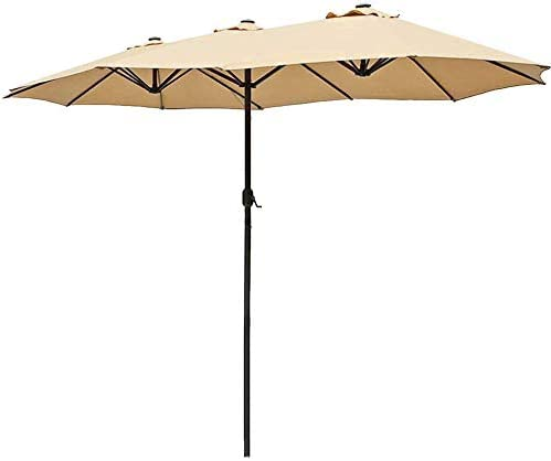 USspous Double-Sided Patio Umbrella Twin Outdoor Sun Shelter 15ft Market Umbrella