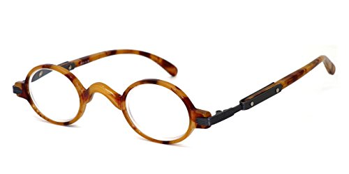 Calabria R314 Unisex Vintage Professor Oval Reading Glasses Incredibly Lightweight and Comfortable in Blonde Tortoise - Eyewear And Tortoise Blonde