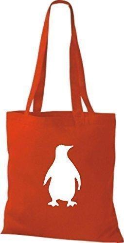 Shirtinstyle - Bolsa de algodón, diseño de pingüino - bright red