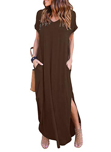 (Women's Summer Maxi Dress Casual Loose Pockets Long Dress Short Sleeve Split)