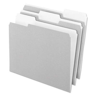 Interior File Folders, 1/3 Cut Top Tab, Letter, Gray, 100/Box