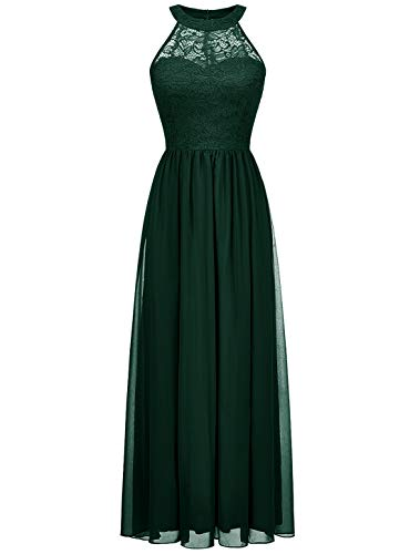 Wedtrend Halter Floral Lace Long Chiffon Bridesmaid Dress Cocktail Party Formal Maxi Dress WT0201DarkGreenM