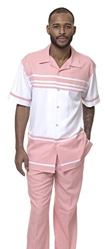 Montique 2 pc Men's Walking Suit Full Cut Short Sleeve Comfortable and Stylish1878 (XL/40, Blush)