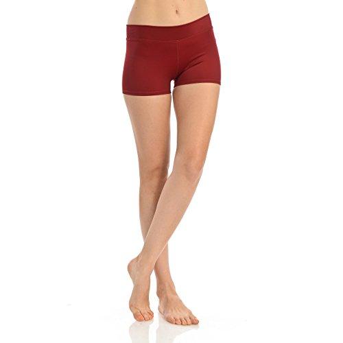 Anza Womens Active Wear Dance Booty Shorts-Maroon,Medium
