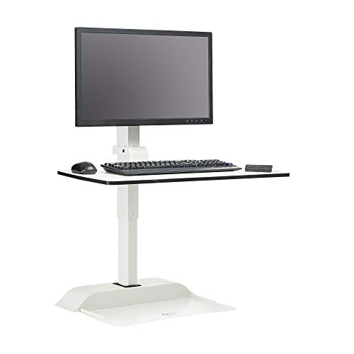 Safco Products 2192WH Soar by Safco - Single Monitor Mount Electric Sit/Stand Desk Converter, White