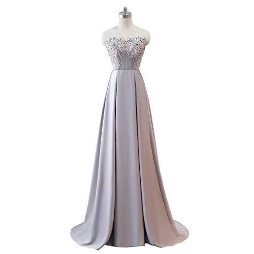 Kleider Formale Frauen Abendkleid Lange Mermaid Party Silber Ausschnitt Doppel V Pq8qRSw