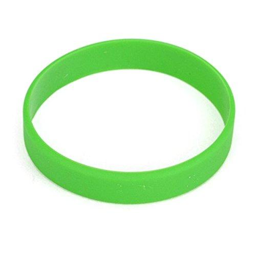 (Vitalite 100pcs/set Plain Silicone Wristbands Blank Rubber Bracelets for Children Green)