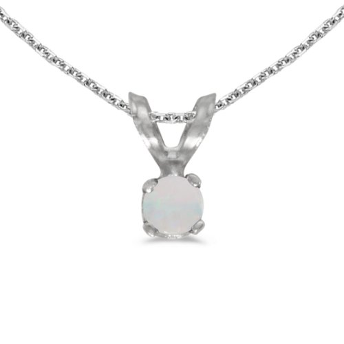 Jewels By Lux 14k White Gold Genuine Birthstone Round Opal Pendant (0.04 ()