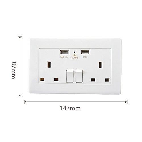 Doble conmutada Socket toma de corriente de pared con 2,4 A 2400 ...