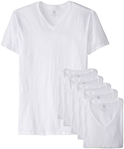 BVD Men's 6 Pack V-Neck, White, ()