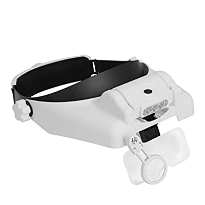 Headband Magnifying Glass with 3 LED Lights Head-Mounted Magnifier Visor 1X, 1.5X, 2X, 2.5X, 3.5X, 8X Head Wearing Magnifying Visor Hand Free Jewelry Magnifier Glass for Reading Sewing Crafts Repair: Office Products