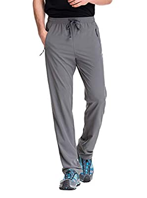 TRAILSIDE SUPPLY CO. Mens Stretch Workout Lounge Pants with Zipper Pockets