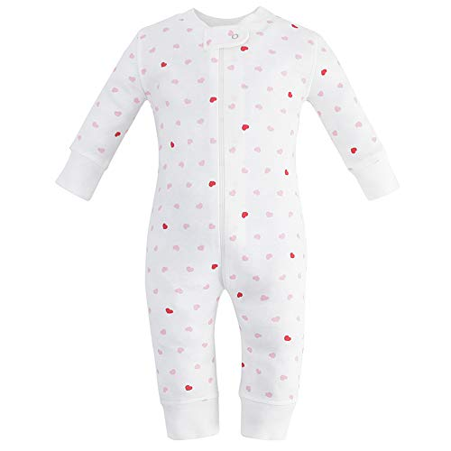 (Owlivia Organic Cotton Baby Boy Girl Zip up Sleep N Play, Footless, Long Sleeve (Size 0-18 Month)(0-3Months,Pink Heart))