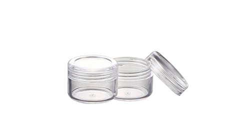 TOPWEL 100PCS Clear Plastic Cosmetic Sample Containers - 5 Gram (Pack 100)