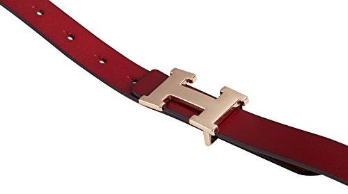 Fashion H-Style Slim Belt for Women Lady [2.5cm Belt Width] (Brown, 95cm (Waist 27''~33'' or Below)) by Amone Ling (Image #7)