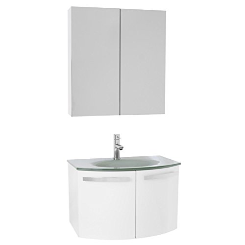 "ACF ACF CD134 Crystal Dance Bathroom Vanity with White Glass Top and Medicine Cabinet Included, 28"", Glossy White 85%OFF"